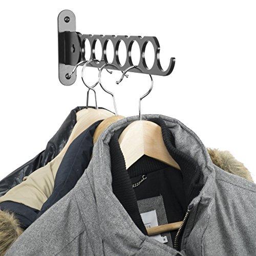 Wallniture Costa Wardrobe Organizer Wall Mounted Clothes Bar - Folding Hanger Rack Holder Organizer - Steel Black 145 Inch Black