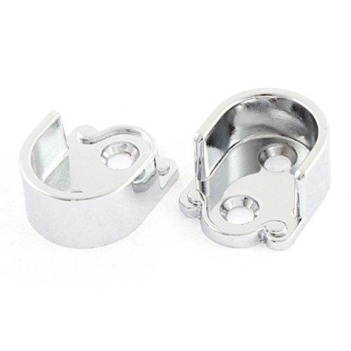 uxcell 19mm Dia Clothes Closet Rod Flange Holder Bracket Silver Tone 2 Pcs