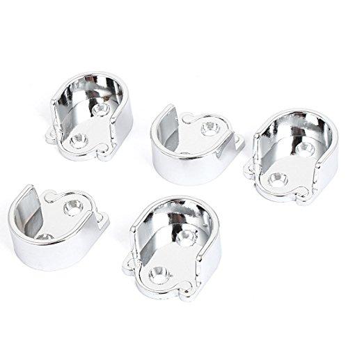 uxcell 25mm Dia Clothes Closet Rod Flange Holder Bracket Silver Tone 5pcs