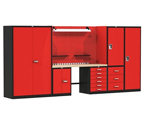 Hallowell FKSECURESTOR-LG-M 168 W x 24 D x 78 H in Fort Knox SECURE STORAGE Modular Workbench System With Wood Top - Black and Red