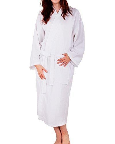 100 Cotton Waffle Weave Robe Kimono Spa Bathrobe Made in Turkey Diamond Pattern Unisex White One Size