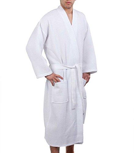 Waffle Weave Robe Kimono Spa Bathrobe Made in Turkey White XXL by Turkish Linen
