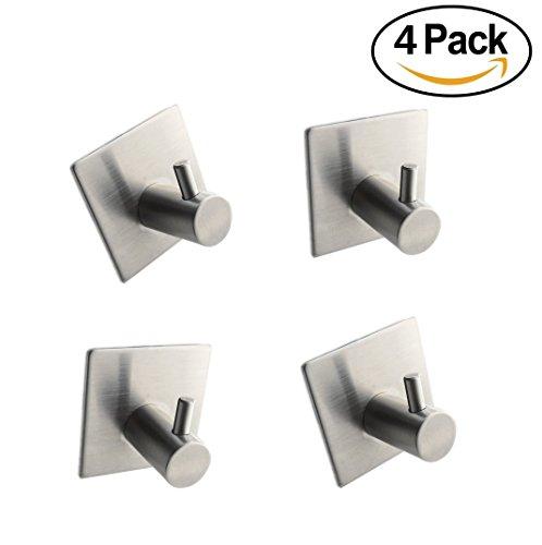 3M Self Adhesive CoatRobe Hook for Bathroom Kitchen Towel HookNo Drilling Required Utility Hooks - 4 Pack Brushed Nickel Hook