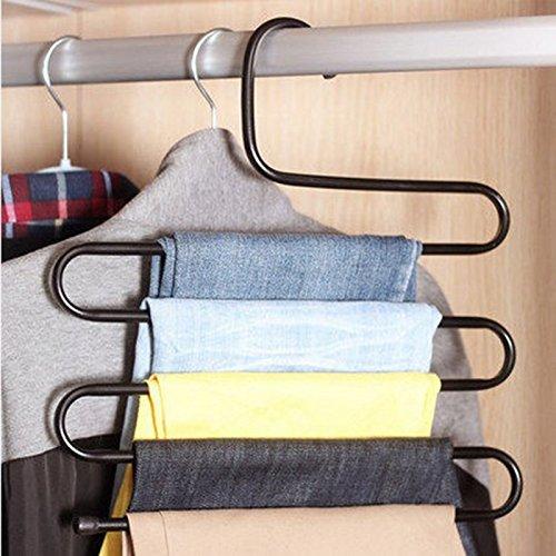 M-Egal Multifunction Serpentine S-type Multi-Layered Magic Pants Hanging Pants Rack Pants Folder black&L