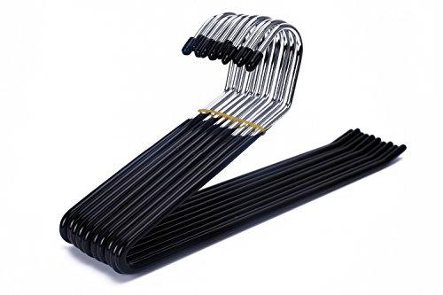 JS Hanger Slack Pant Hangers Extra-Long Open Ended Hangers Chrome and Black Friction 10-Pack