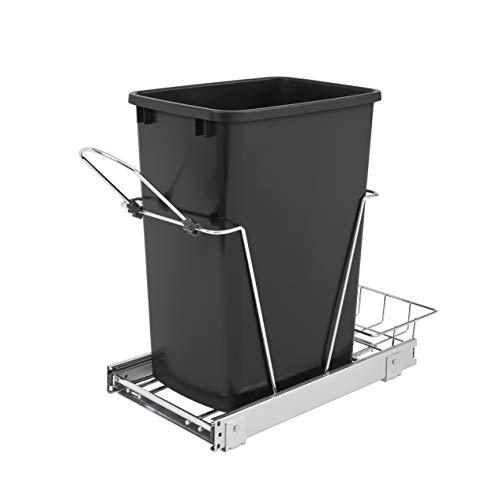 Rev-A-Shelf RV-12KD-18C S Single 35-Quart Sliding Pull Out Kitchen Cabinet Waste Bin Container Black