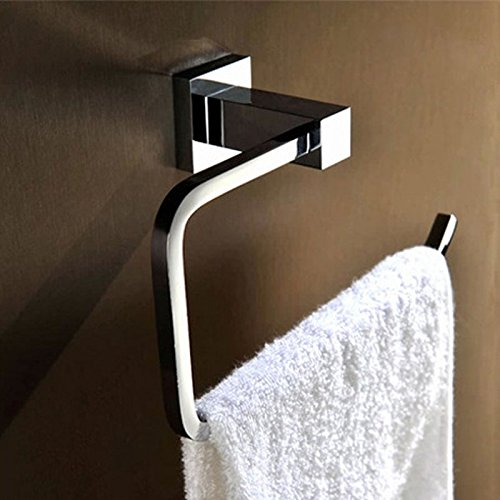 Newly Square Style Bathroom Chrome Finish Single Wall Mounted Towel Rack Towel Hanging Clothes Hanger