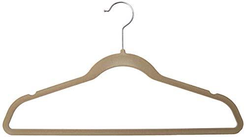 Homz Flocked Velvet Suit Hanger Non Slip Ultra Slim Swivel Neck Beige 25-Count