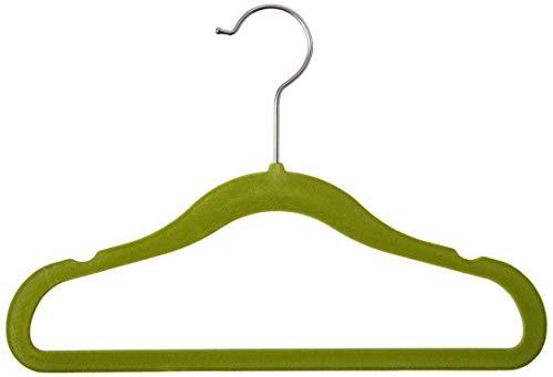 Homz Flocked Velvet Suit Hanger for Kids Green Pack of 25