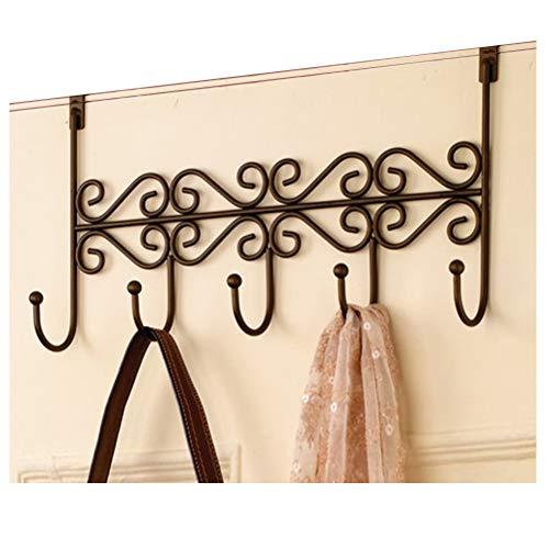 ABBD Coat Rack Over The Door Hanger with 5 Hooks Nail-Free Rustic Wrought Iron Coat Rack Hooks Wall Mounted Door Clothes Hanger for Living Room Cloakroom Bathroom-Black