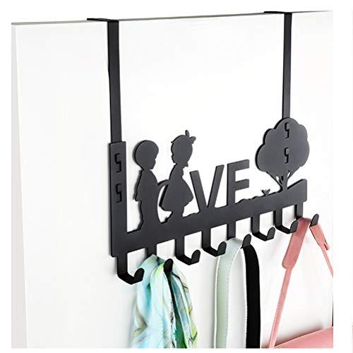 ABBD Cute Coat Rack Over The Door Hanger with 8 Hooks Modern Coat Rack Hooks Wall Mounted Door Clothes Hanger for Living Room Cloakroom Bathroom-Black