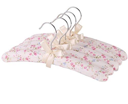Windspeed Rural Floral Cloth HangerWood And Sponge PaddedBowknot Kids Clothes Hanger Pack of 5 Random Color