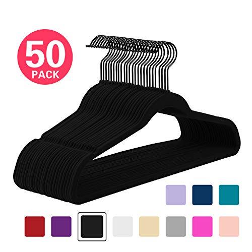 MIZGI Premium Velvet Hangers Pack of 50 Heavyduty - Non Slip - Velvet Suit Hangers Black - Black Coated HooksSpace Saving Clothes Hangers BlackBlack