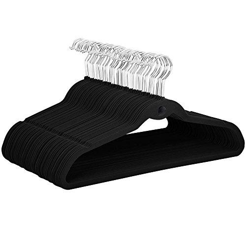 Topeakmart Premium Cascading Velvet Hangers 100 Pack - Non Slip Hangers with Cascading 360 Swivel Hooks Black-Space Saving Clothes Hangers
