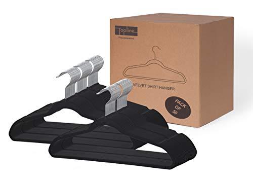 Topline Classic Wood Shirt Hangers - 30-Pack Velvet Black 50 Pack