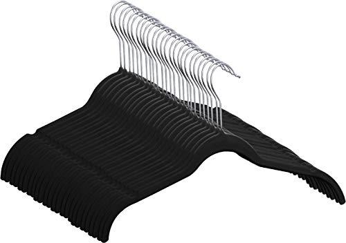 Utopia Home 50-Pack Shirt Hangers - Non Slip Velvet Hangers - Durable and Slim - 360-degree rotatable Hook - Black