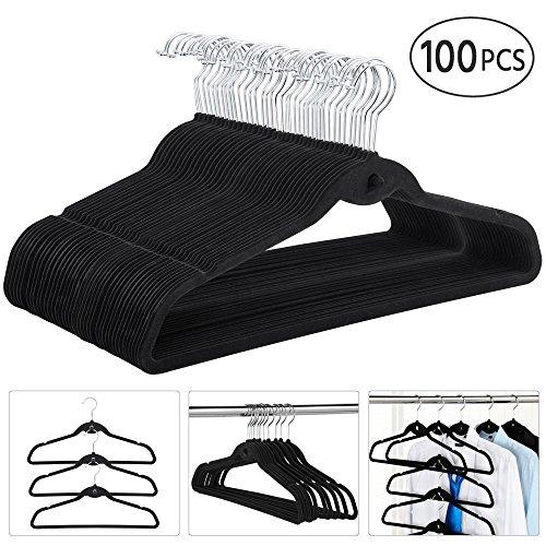 go2buy Space Saving Cascading Velvet Suit Hangers Clothes Hangers100-PackBlack