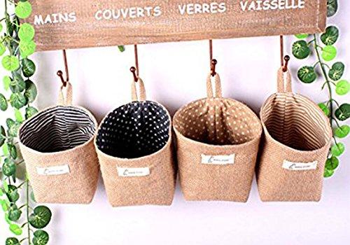 FANTASIEN 4 Pack linen Wall Door Hanging Storage Bag Case Basket Home Organizer Bin DecorToy Storage CageOffice Desk Supplies Organizer Box hanging Flowerpot Holder Box