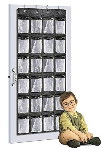 GREEN JUNGLE Over the Door Shoe Organizer Multi-purpose Heavy Duty Door Hanging Storage with 24 Large Mesh Pockets and 4 Steel Door Hooks