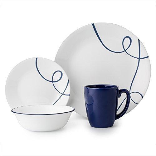 Corelle 16 Piece Lightweight and Chip Resistant Livingware Dinnerware Set Lia Blue