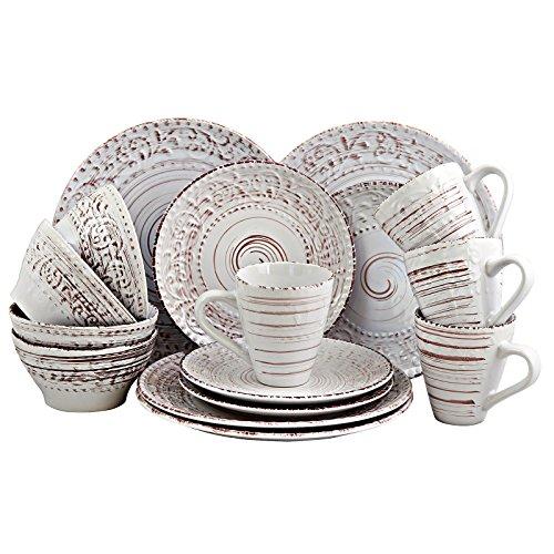 Elama Malibu Embossed Stoneware Ocean Dinnerware Dish Set 16 Piece Seashell and White Sand