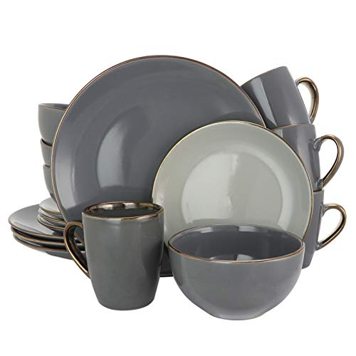 Elama Tahitian Round Stoneware Grand Collection Dinnerware Dish Set 16 Piece Assorted Solid Gray