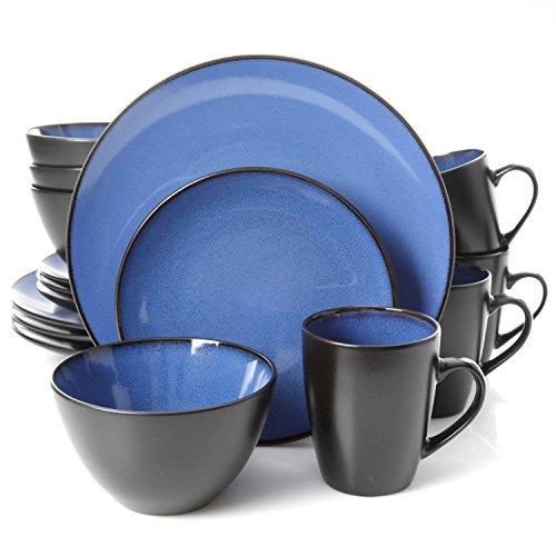 Gibson Home 16 Piece Reactive Stoneware Soho Round Dinnerware Set Blue - 10953616R