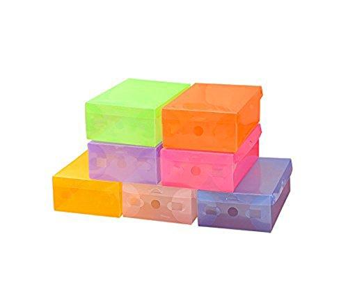 5 Pieces Transparent Colorful Plastic Shoe Storage Boxes Container Organizercolor by random