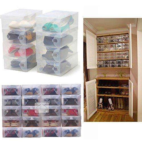 GreenSunTM 10X Transparent Clear Plastic Shoe Boxes Shelf Stackable Foldable Organizer Box Bulk
