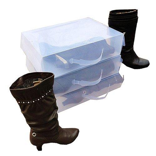 GreenSunTM Ladies Knee High Boot Shoe Box - Ladies Knee High Boot Stackable Plastic Shoe Box Storage Foldable Transparent White