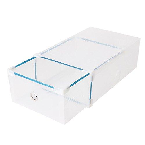LAYs Drawer Shoes Storage Box34x22x13cm Man Style Foldable Plastic Transparent Stackable Shoes Case Organizer Transparent