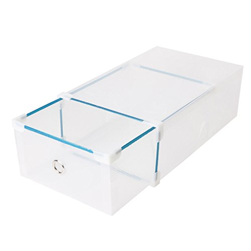 LAYs Drawer Shoes Storage Box52x30x11cm High Boot Style Foldable Plastic Transparent Stackable Shoes Case Organizer