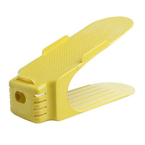 YingNeng Display Rack Shoes Organizer Space-Saving Plastic Rack Storage - Yellow