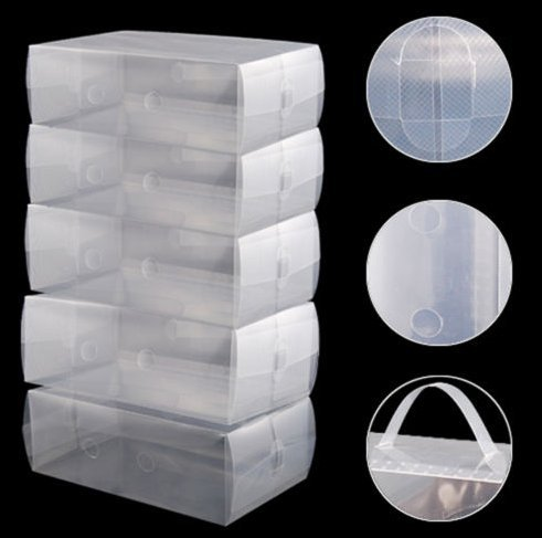 USA Premium Store 5 x Clear Plastic Mens Shoe Storage Boxes Containers Size 8 9 10 11