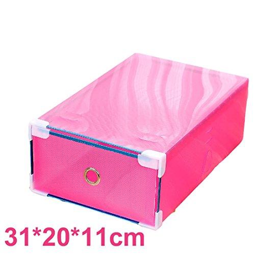 Ecosin Transparent Shoebox 1PC Foldable Clear Plastic Shoe Box Drawer Stackable Storage Organiser Non-toxic G