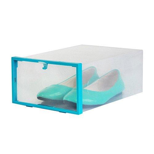 GreenSunTM Thickening Plastic Stackable Shoe Boxes Storage Box blue