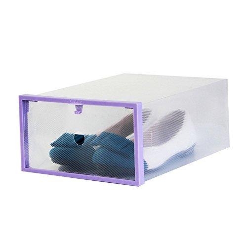 GreenSunTM Thickening Plastic Stackable Shoe Boxes Storage Box purple