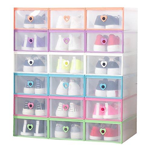 Smilun Closet Storage Organizer Transparent Plastic Stackable Shoe Box Case Home Storage Container Office Organiser Multicolour Heart6PCs