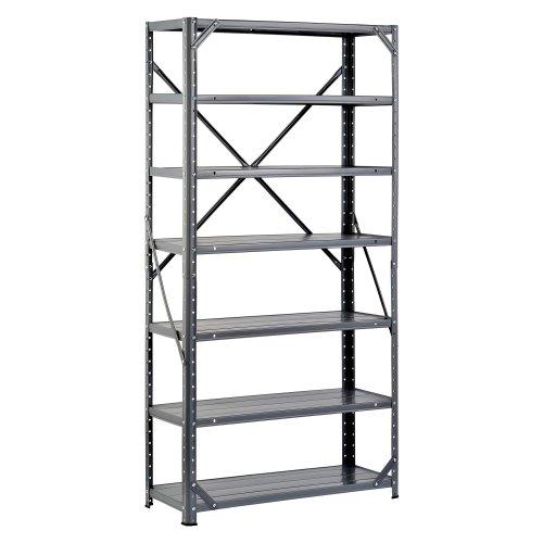 Edsal HC30127 Steel 7-Shelf Shelving Unit 750 lb Capacity 30 Width x 60 Height x 12 Depth
