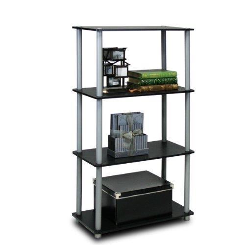 Furinno 99557BKGY Turn-N-Tube 4-Tier Multipurpose Shelf Display Rack - BlackGrey