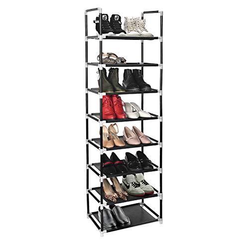 Herron Shoe Rack Organizer 8 Tiers Stackable and Durable Shoe Shelf Storage 16 Pairs Metal Shoe Tower Space Saving 18 x 119 x 577