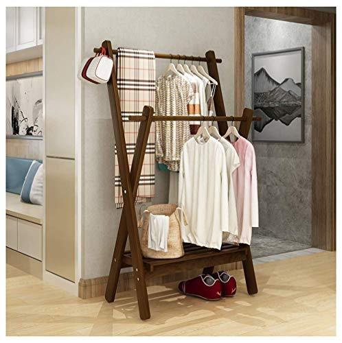 XJXHLG Shoe Rack Door Hanging Shoe Rack Door Hanging Coat Rack Bamboo Garment Rack with 1 Shelf Hanger Shoes Hat and Scarf Corridor Living Room 29x173x65 Inches Shoe Rack Storage Color  A