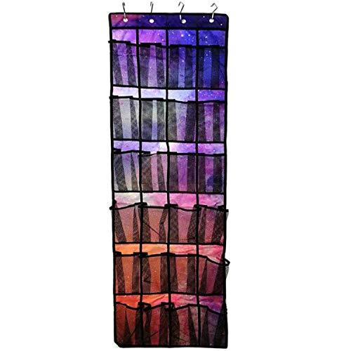 Fivebop Over The Door Shoe Organizer Storage Mesh 24 Large Pocket Hanging Shoe Holder Rack with Durable Hooks Starry Sky