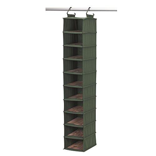 Household Essentials 10-Shelf CedarStow Premier Hanging Shoe Bag Cedar Green