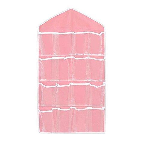 Jieteenager Pink Protable 16 Pockets Door Hanging BagShoe Rack Hanger