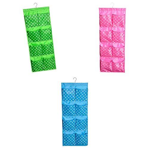 MonkeyJack 3Pcs Over Door Wall Hanging Round Dots 12 Pockets Bag Shoe Toy Hanger Storage Jewellery Cosmetics Tidy Organizer