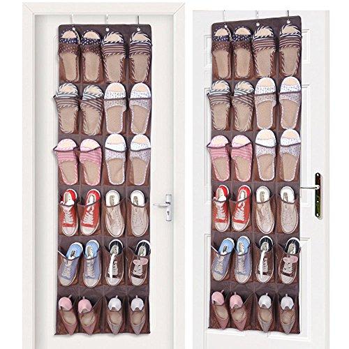 Shoe Organizer Over the Door 24 Pocket Hanging Shoe Door Shelf Hanger Holder Storage Bag coffee
