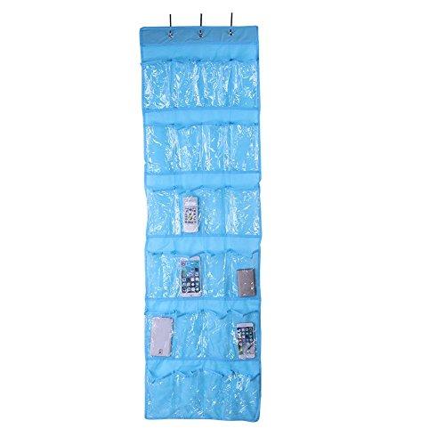 Whitelotous 24 Pockets Hanging Organizer Shoes Bag Holder Room Door Back Debris Storage Bags Blue