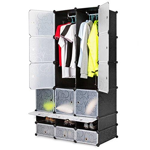 Honey Home DIY Modular Shelving Storage Organizer 18-Cube Extra Large Portable Wardrobe with Clothes Rod 12 Cubes Organizing Cabinet  6 Cubes Shoe Rack