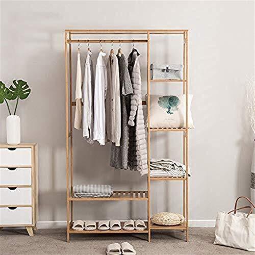ZHHL Clothes Stand,3 in 1 Coat Racks Multifunction Floor-Standing Bamboo Arts Hangers Storage Racks Bedroom Clothes Rack Clothes with Shoe Rack 145 90Cm
